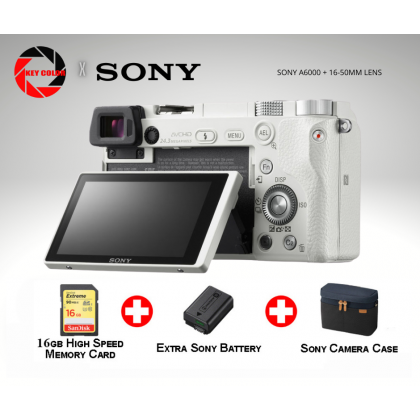 SONY A6000 MIRRORLESS CAMERA WITH E PZ 16-55MM LENS + SANDISK EXTREME 16GB + FW50 BATTERY + BBK BAG + SCREEN PROTECTOR (SONY MALAYSIA 15 WARRANTY)