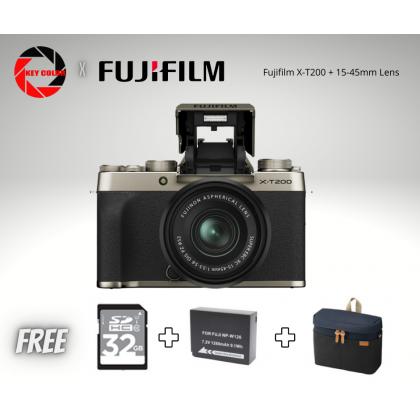 Fujifilm X-T200 XT200 Mirrorless Digital Camera with 15-45mm Lens (Fujifilm Malaysia Warranty) + 32GB High speed card + Bag + Extra Battery