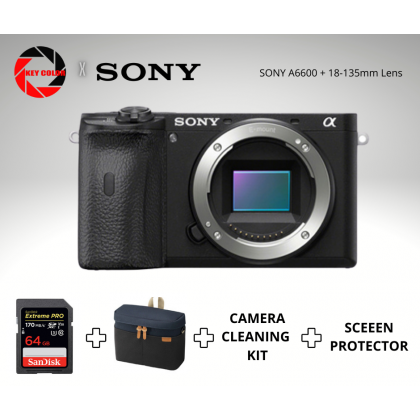 Sony A6600 18-135mm Kit + Sandisk Extreme Pro 64GB 4K Highspeed + Screen Protector (Sony Malaysia 15 Months Warranty)