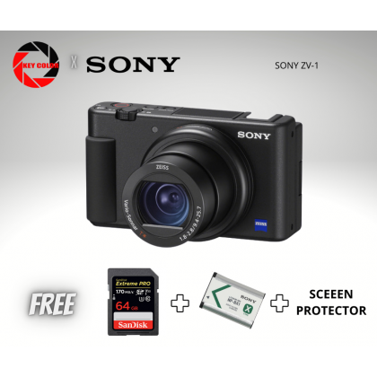 Sony ZV-1 + Sandisk Extreme Pro 64GB x 1pcs + Extra Sony NP-BX1 Battery + Screen Protector (Sony Malaysia 15 Months Warranty)