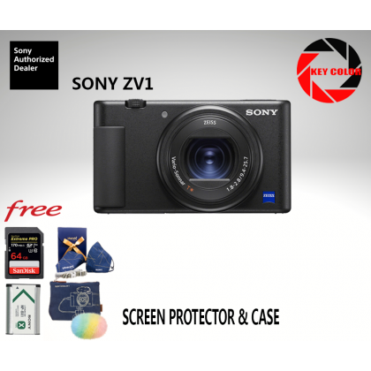 Sony ZV-1 + Sandisk Extreme Pro 64GB + Extra Sony NP-BX1 Battery + Screen Protector + Case + Cleaning Kit (Sony Malaysia 15 Months Warranty)