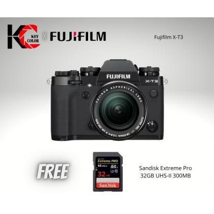 Fujifilm X-T3 Mirrorless Digital Camera with XF 18-55mm Lens (Fujifilm Malaysia Warranty) + Sandisk 32GB UHS-II High speed card