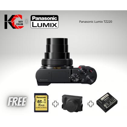 Panasonic Lumix DC-TZ220 Digital Camera + 16GB Card + Camera Case + Panasonic Extra Battery (1+1 Year Official Panasonic Malaysia Warranty)